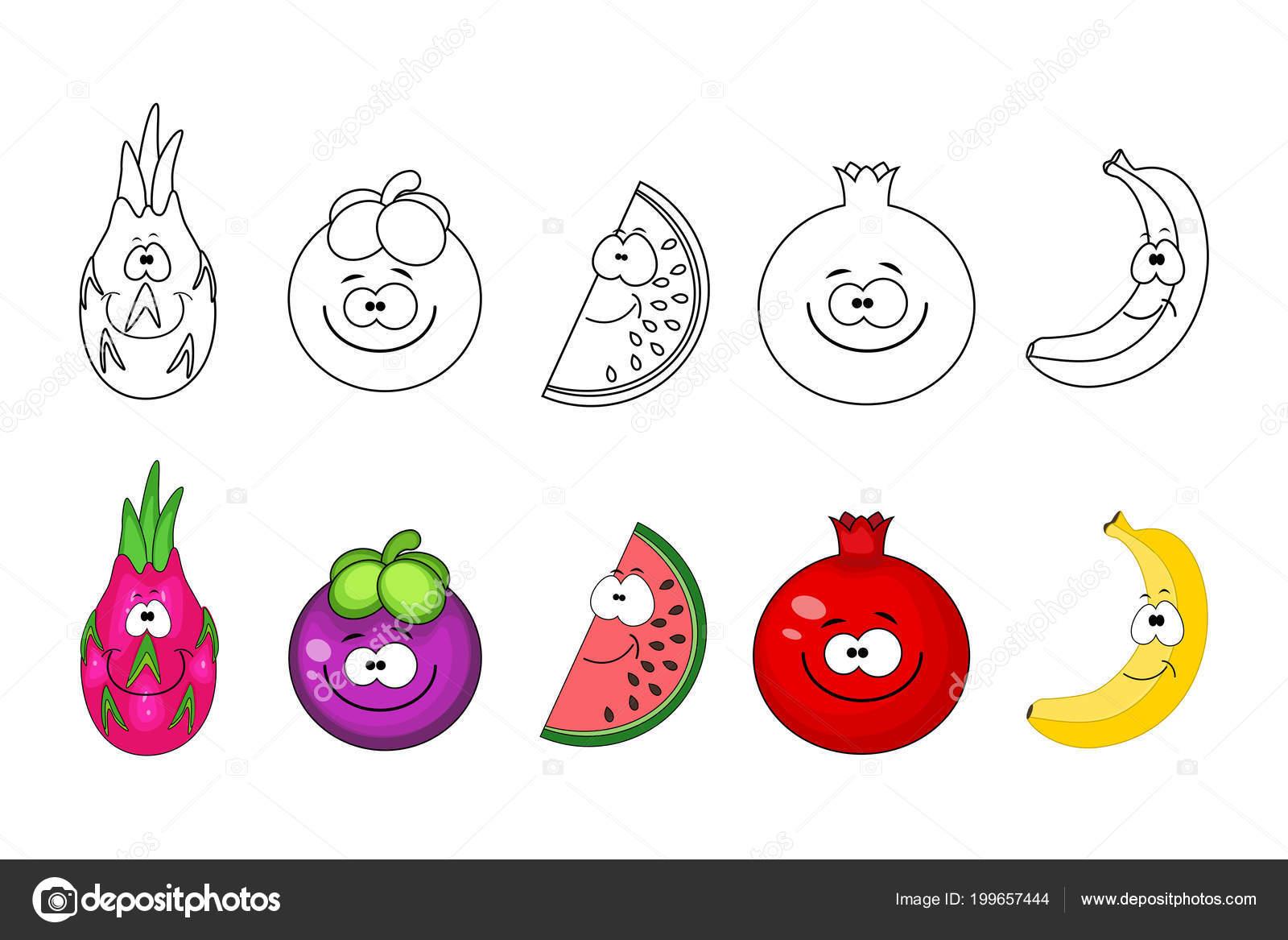 Jeu de dessin anim de fruits pages de livre colorier pour les enfants fruit du dragon - Grenade fruit dessin ...