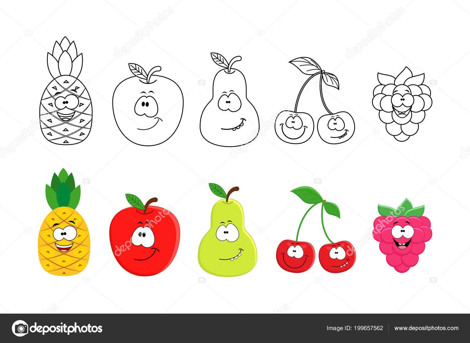 Conjunto de frutas de dibujos animados. Libro dibujos para colorear ...