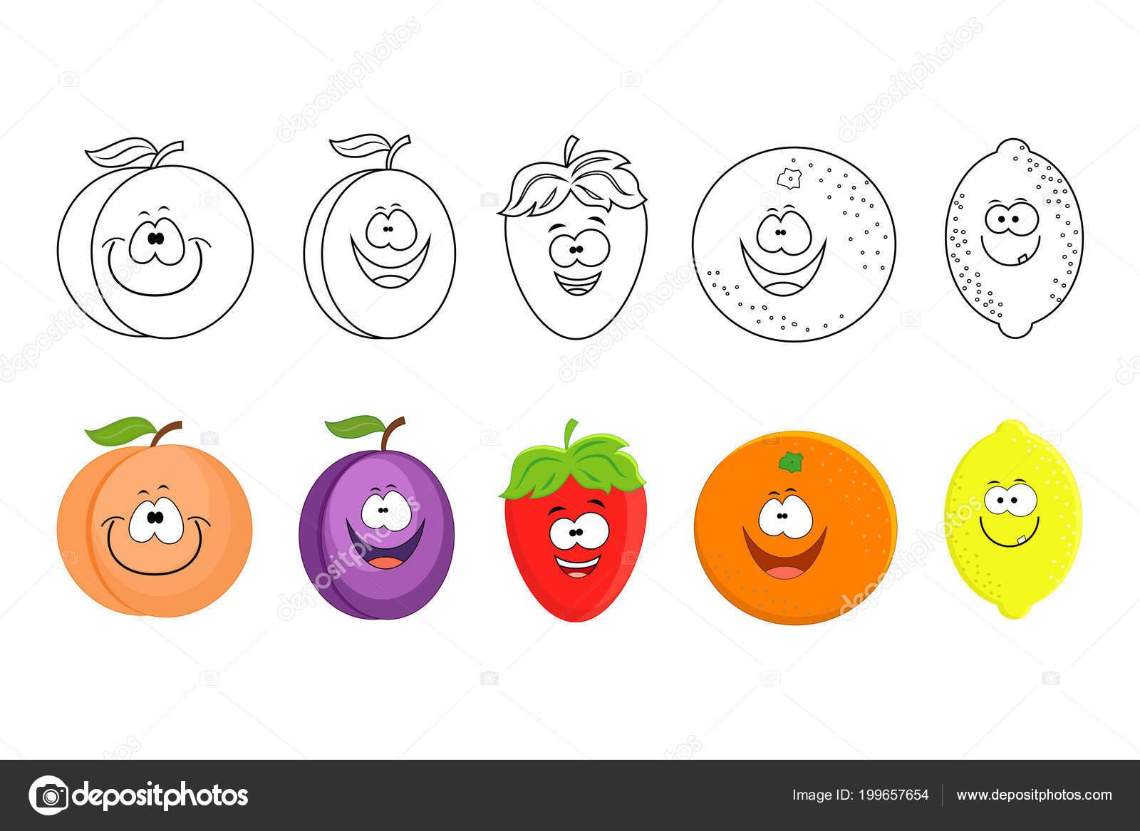 çizgi Film Meyve Kümesi çocuklar Için Boyama Kitabı Sayfaları