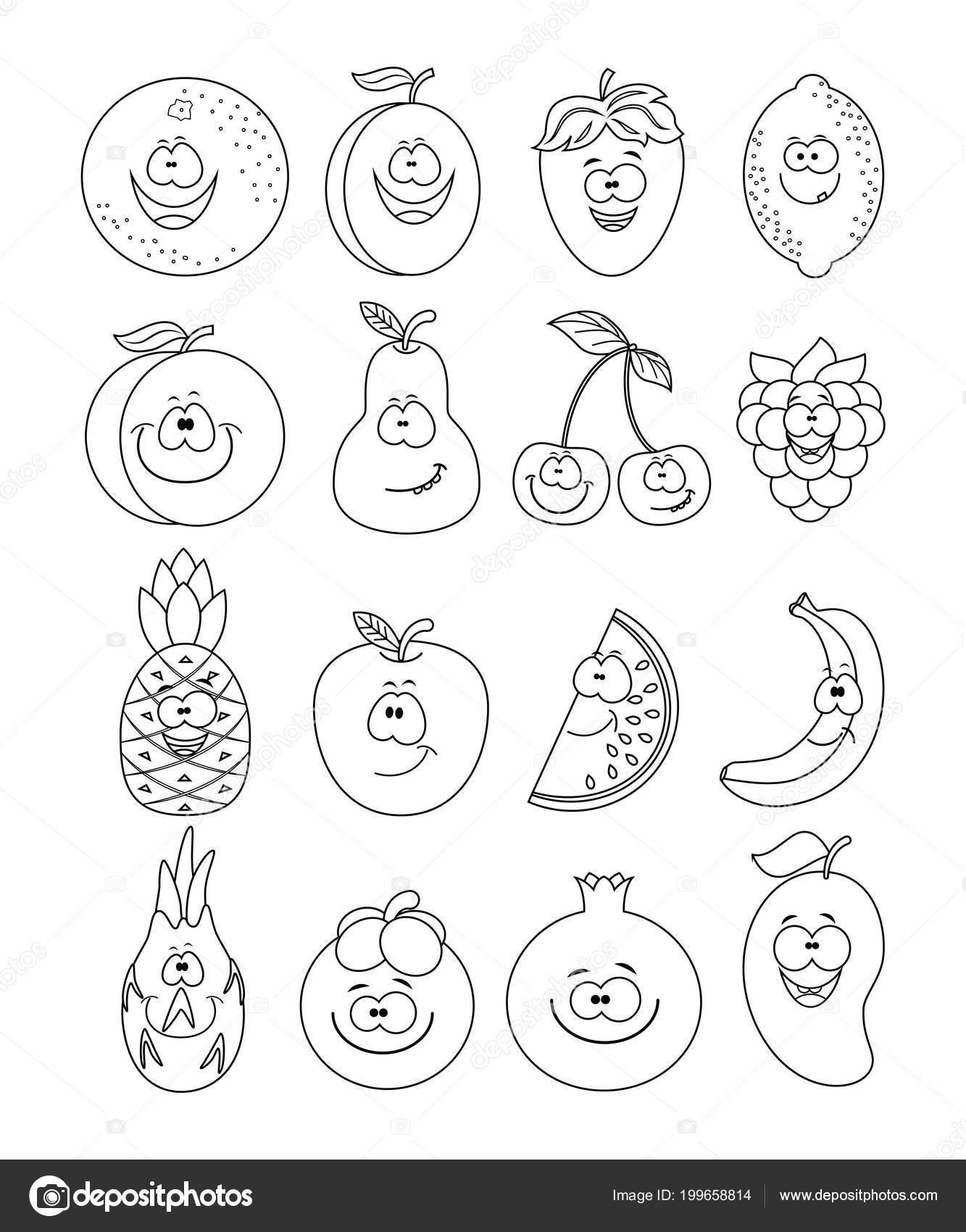 Conjunto incoloro de diferentes frutas. Limón, sandía, melocotón, c ...