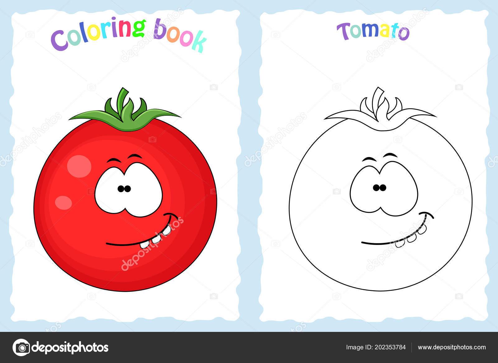 Boyama Kitabı Sayfası Renkli Domates Ve Kroki Olan çocuklar Için