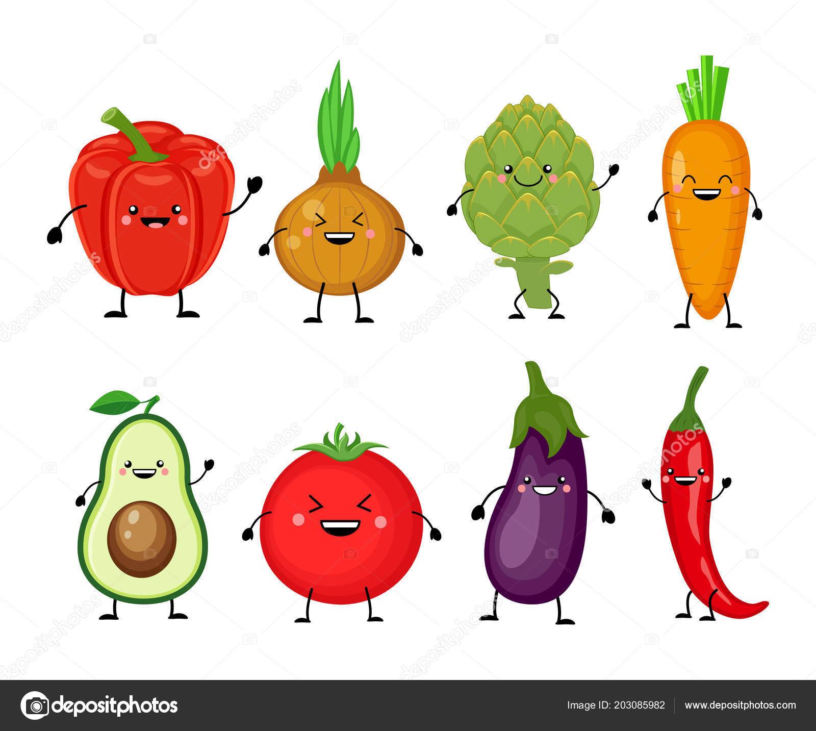 Jeu de dessin anim dr le de diff rents l gumes sourire - Dessin de legumes ...