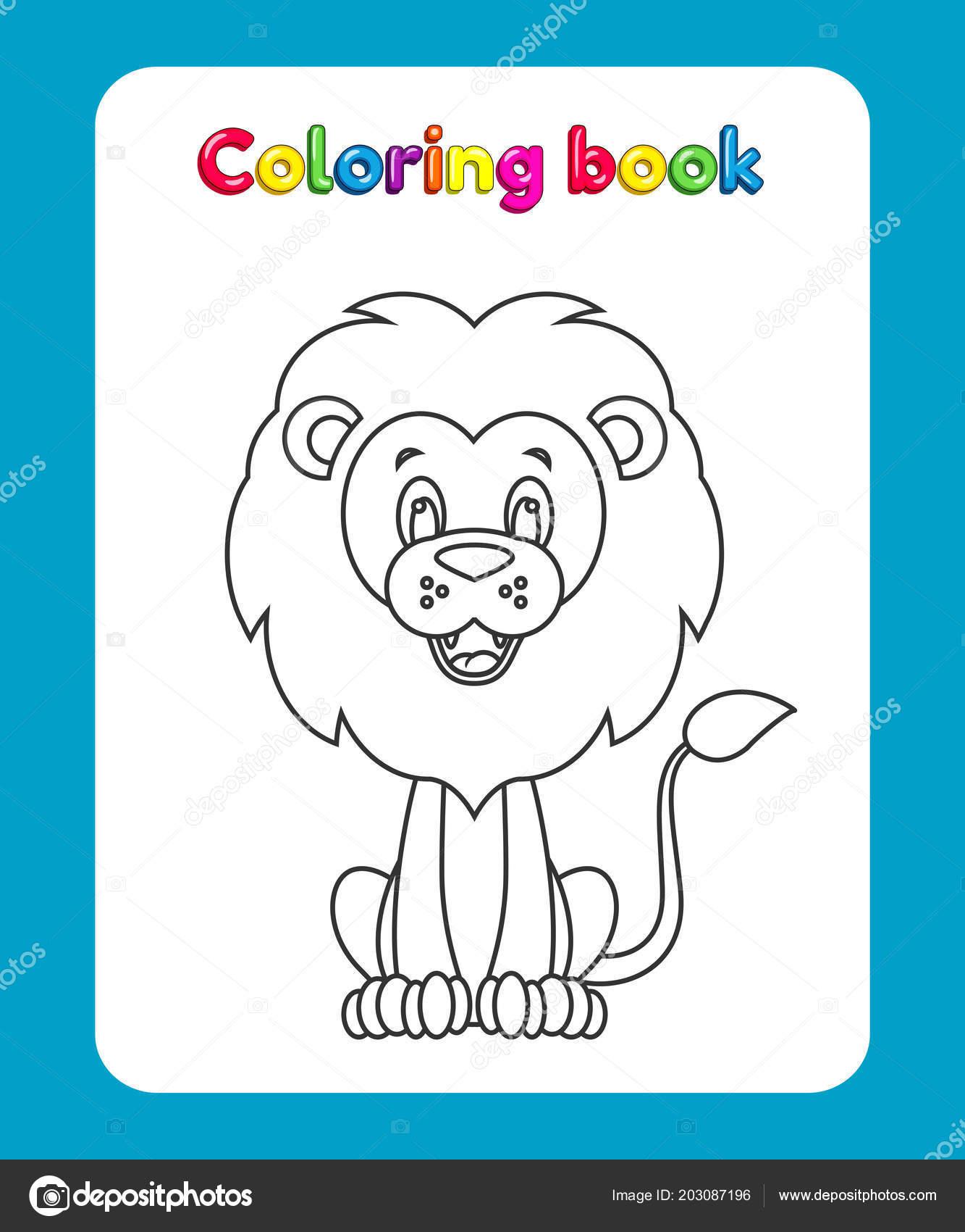 çizgi Film Aslan Olan çocuklar Için Boyama Kitabı Sayfası
