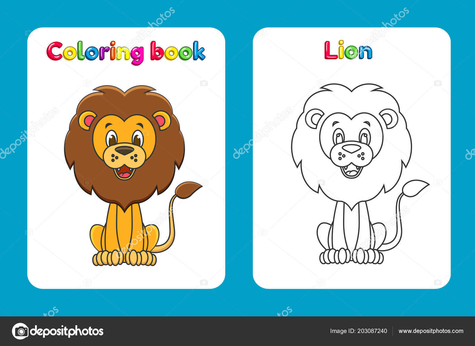 Coloring Book Page For Children With Colorful Lion And Sketch