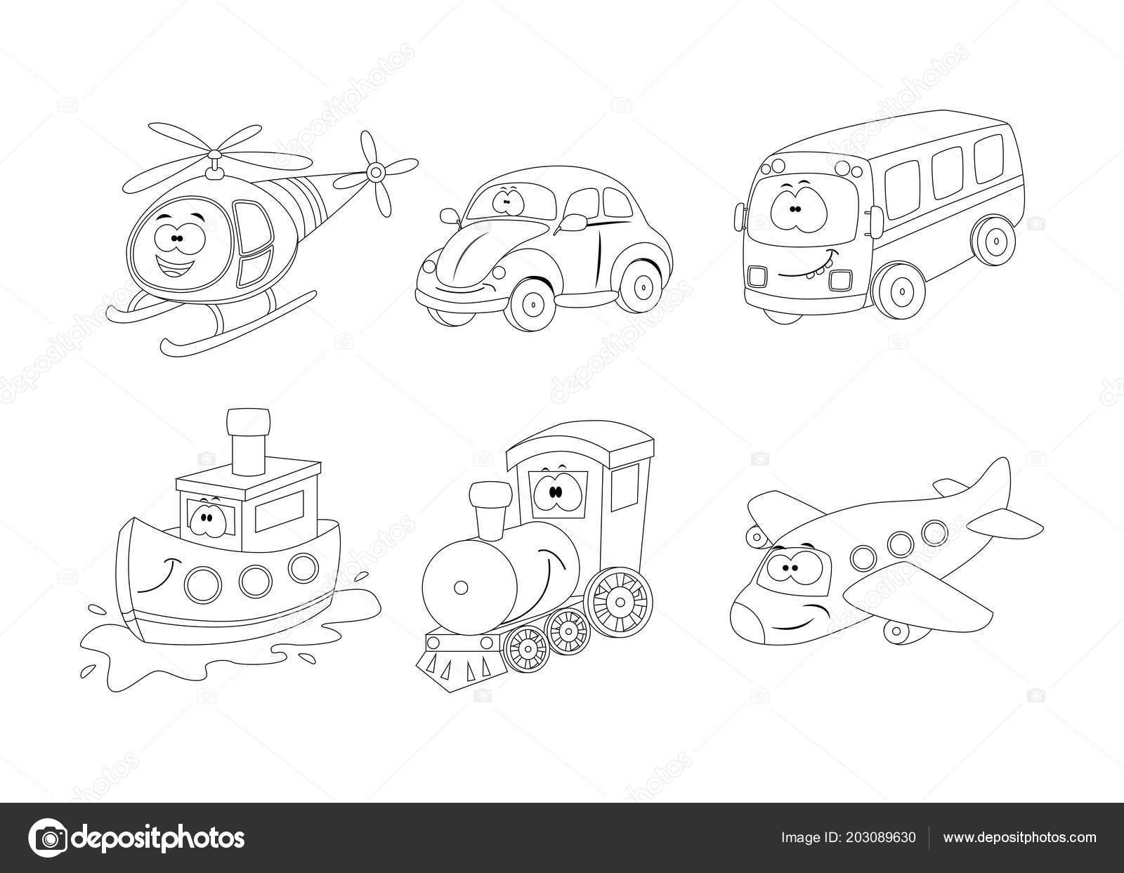 Kleurplaten Autobus.Set Cartoon Vervoer Kleurplaten Boek Helikopter Auto Bus Shi