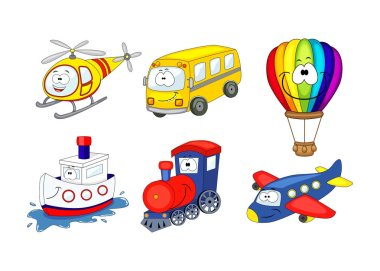 Cartoon transport set. Air balloon, helicopter, airplane,ship, t