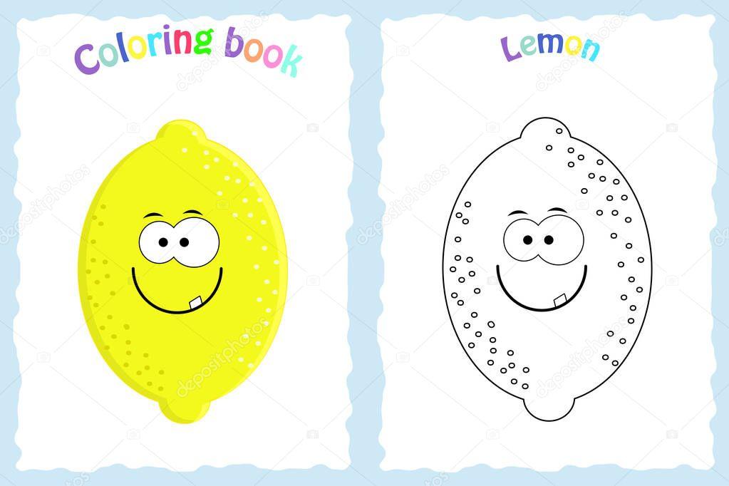 Boyama Kitabı Sayfası Renkli Limon Ve Kroki Olan çocuklar Için
