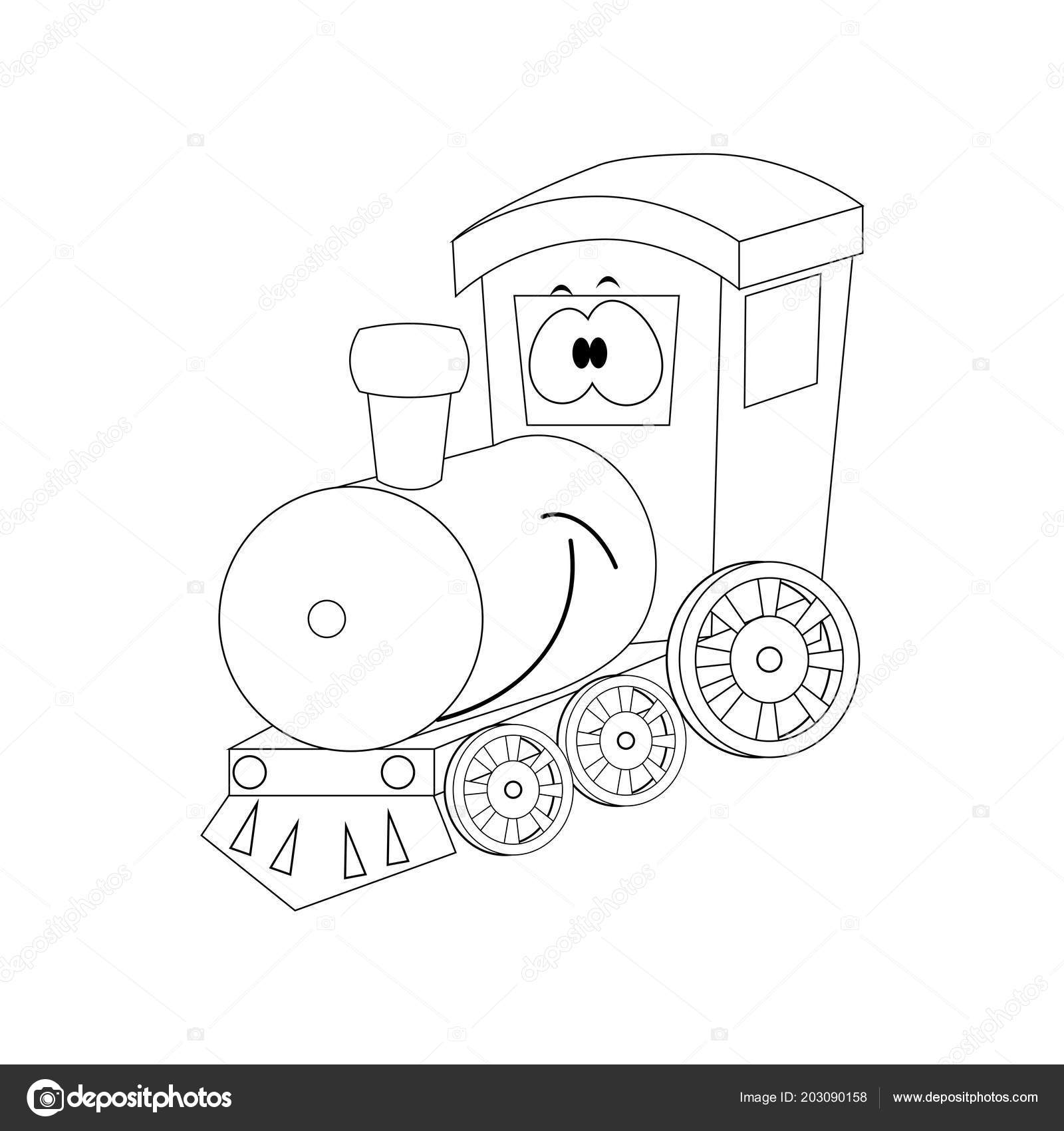 Renksiz Komik Karikatür Tren Vektör çizim Boyama Pa Stok Vektör