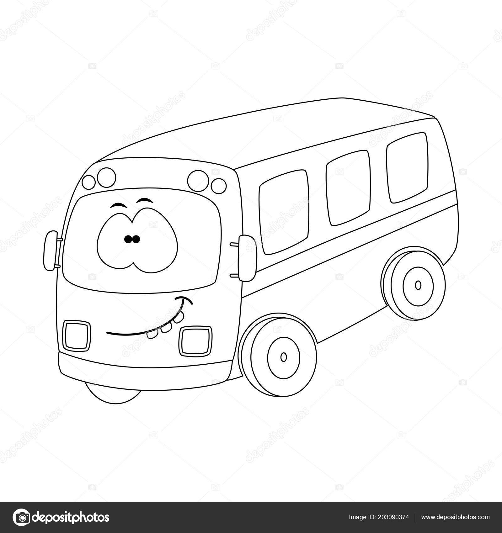 Renksiz Komik Karikatür Otobüs Vektör çizim Boyama Sayfası Stok