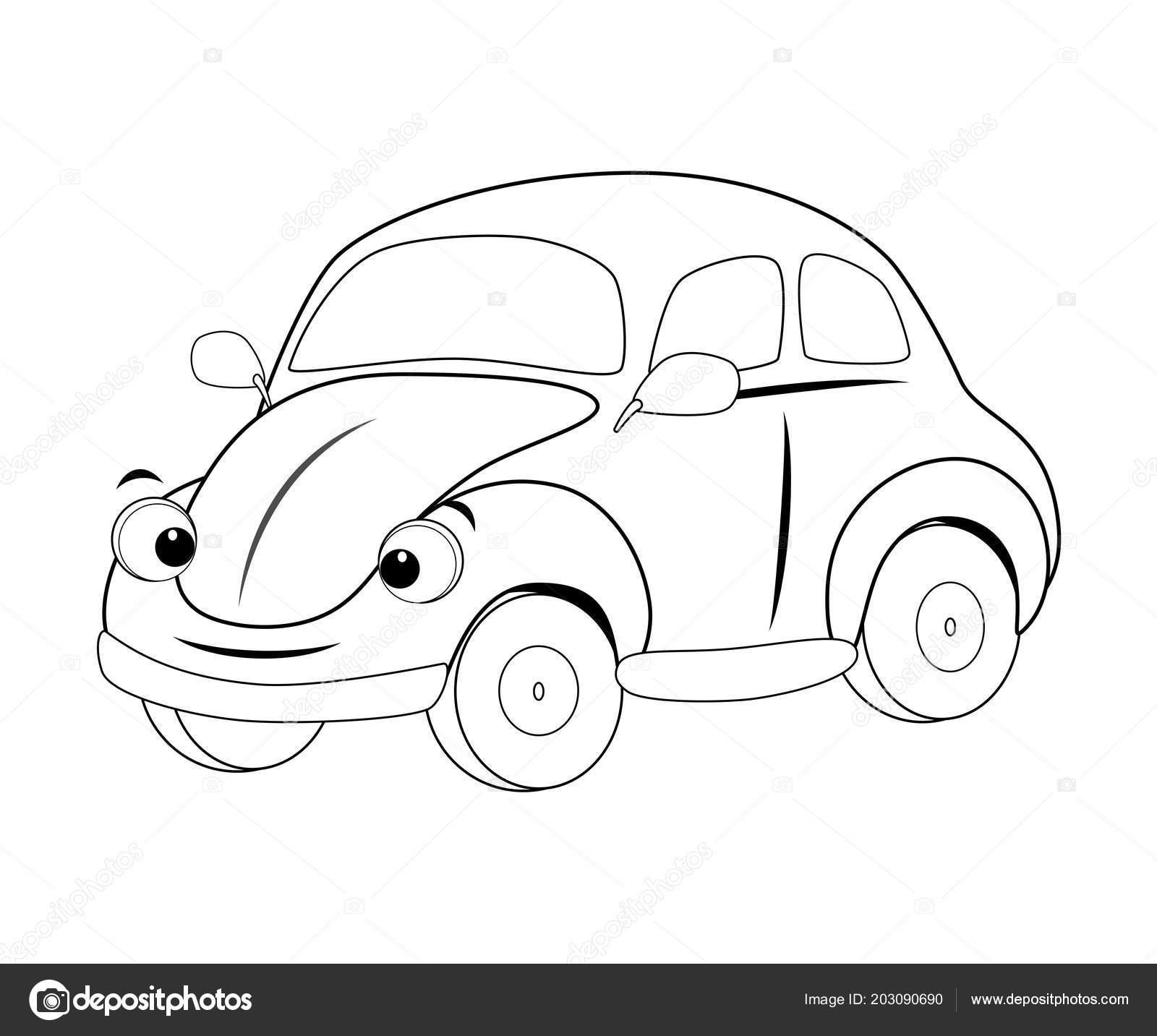 Coche De Dibujos Animados Gracioso Incoloro Ilustración De Vector