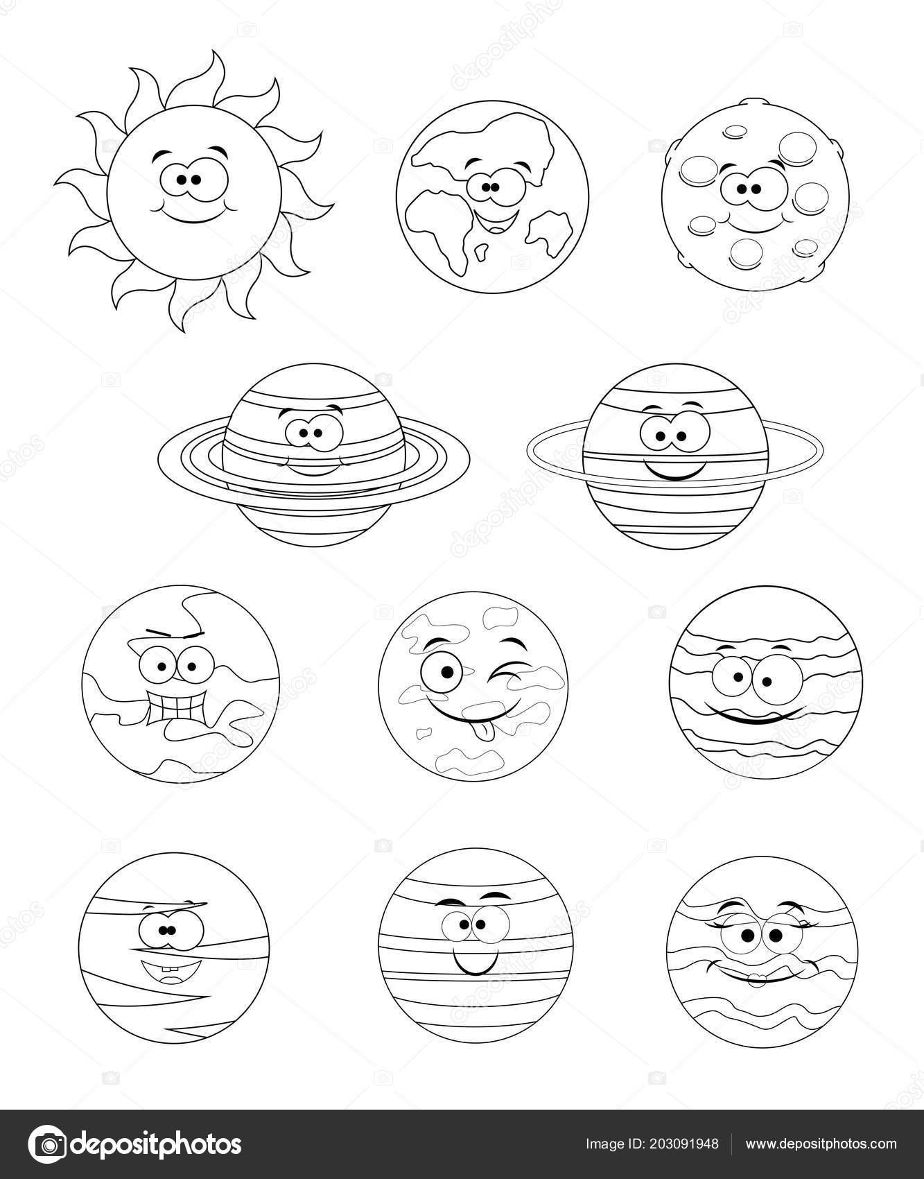 Set Incolore Di Pianeti Del Sistema Solare Isola Di Illustrazione