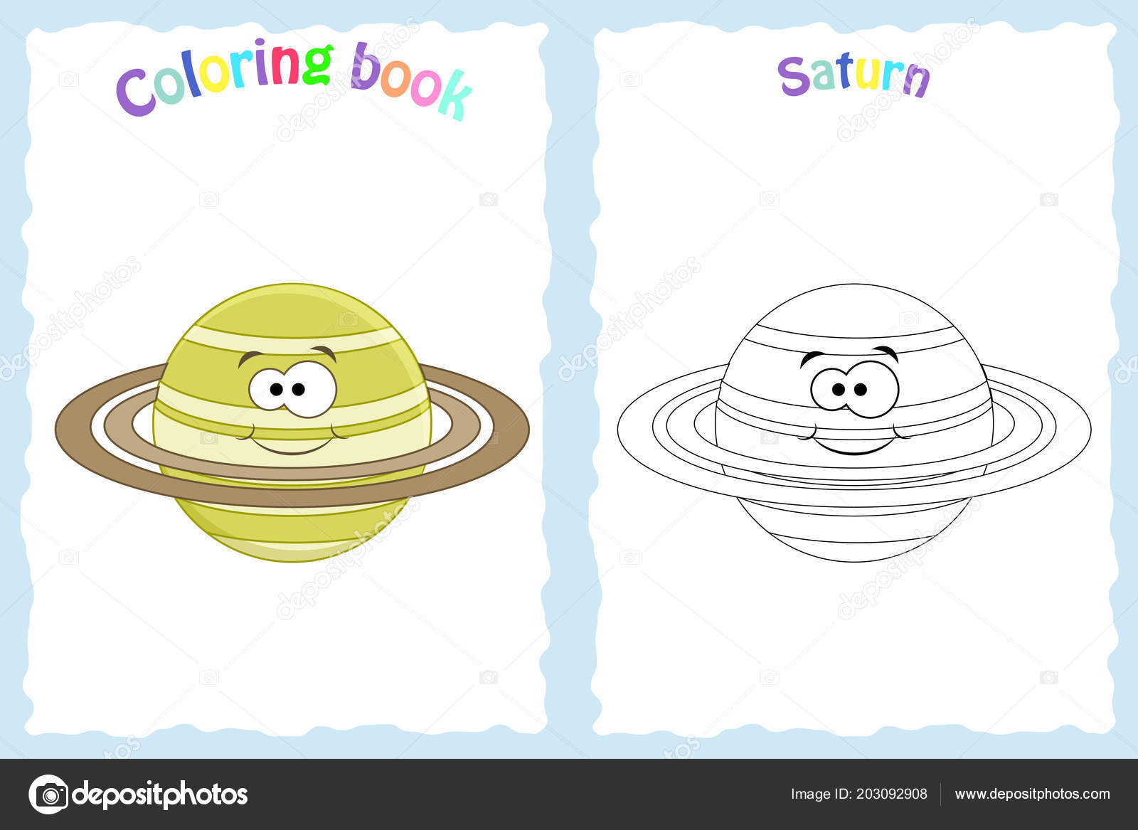 Coloring book page for preschool children with colorful saturn ...
