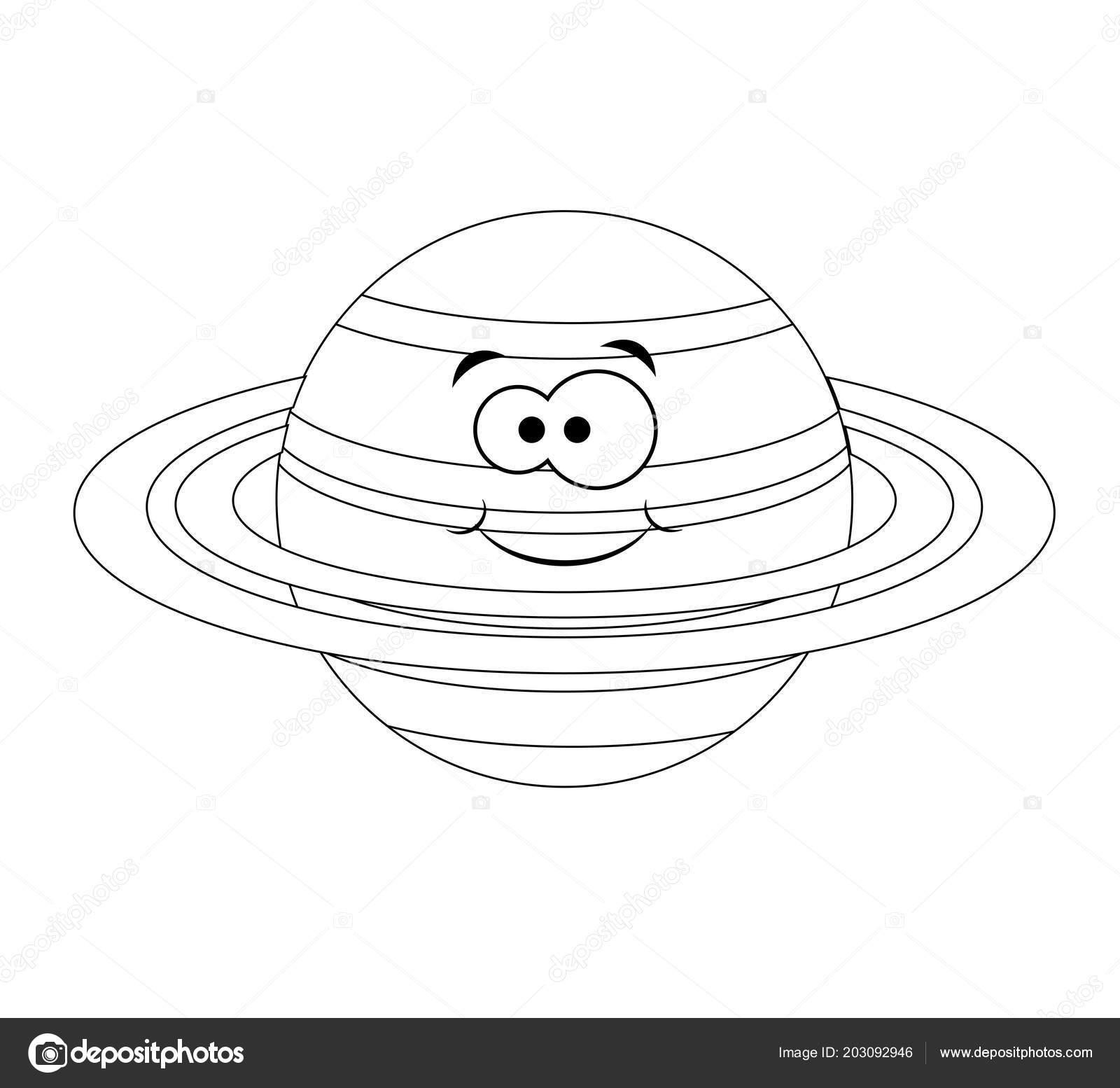 Renksiz Komik Karikatür Satürn Gezegeni Vektör çizim Col Stok