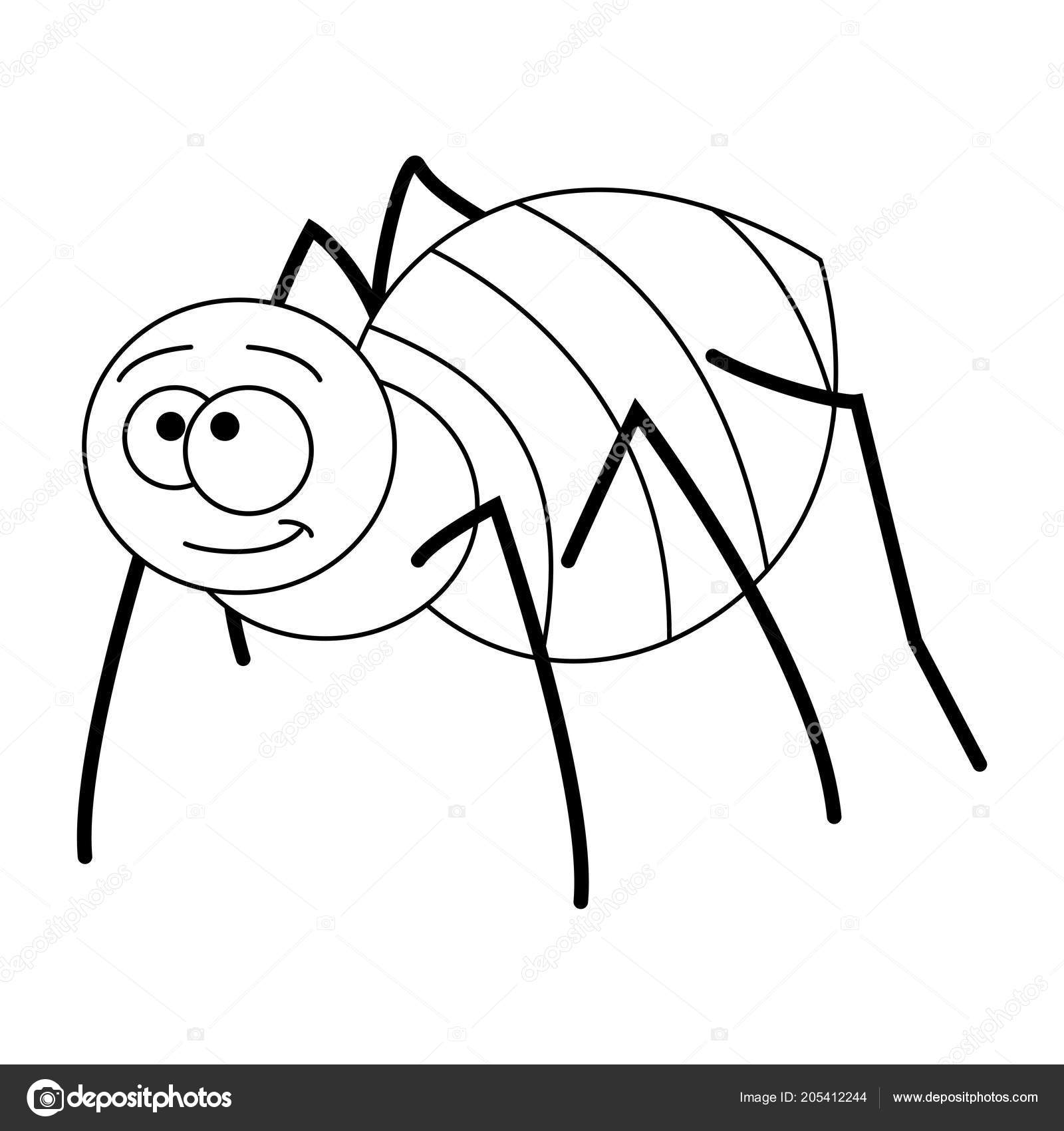 Renksiz Komik Karikatür örümcek Stok Vektör Budolga 205412244