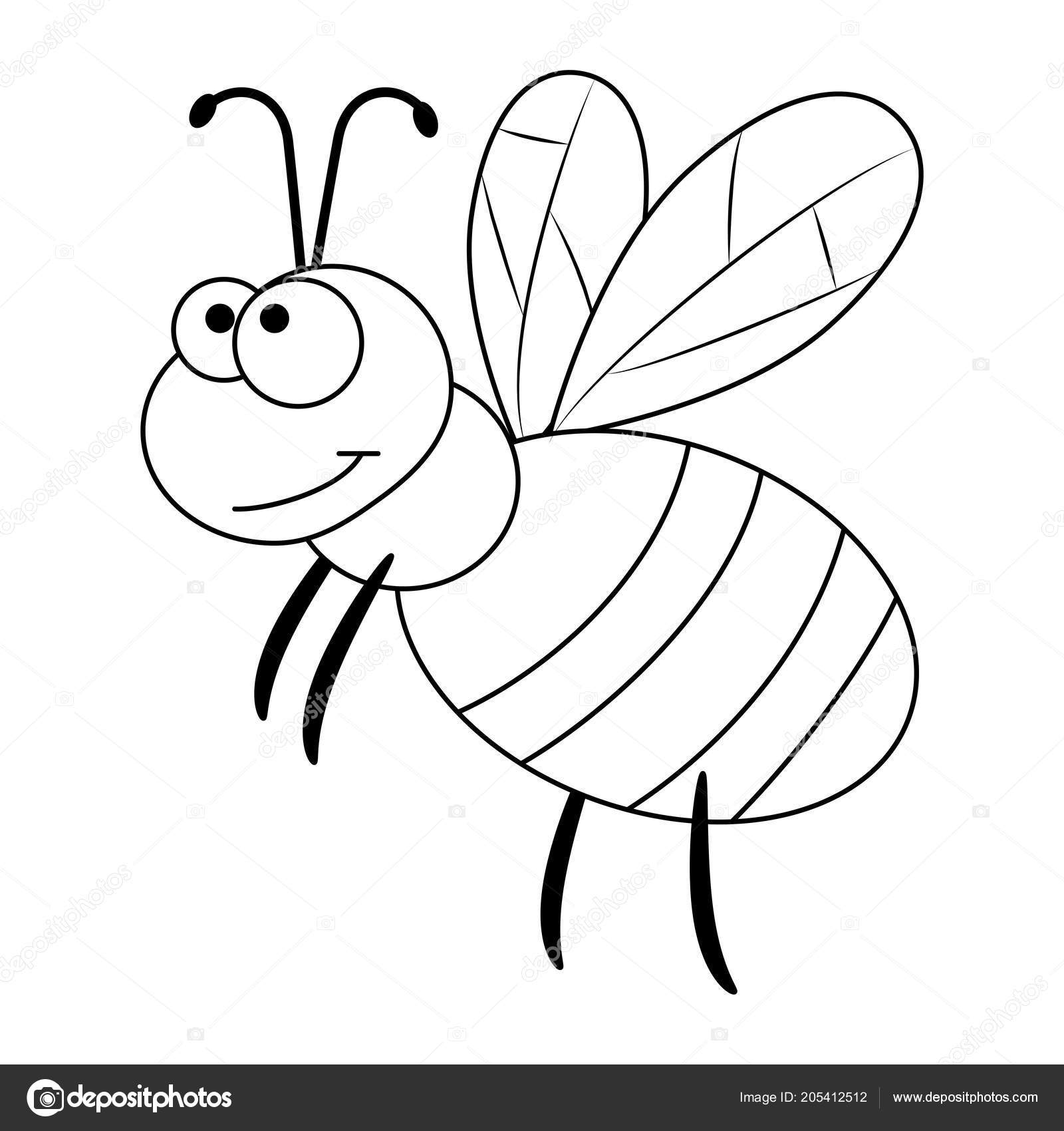 Renksiz Komik Karikatür Arı Stok Vektör Budolga 205412512