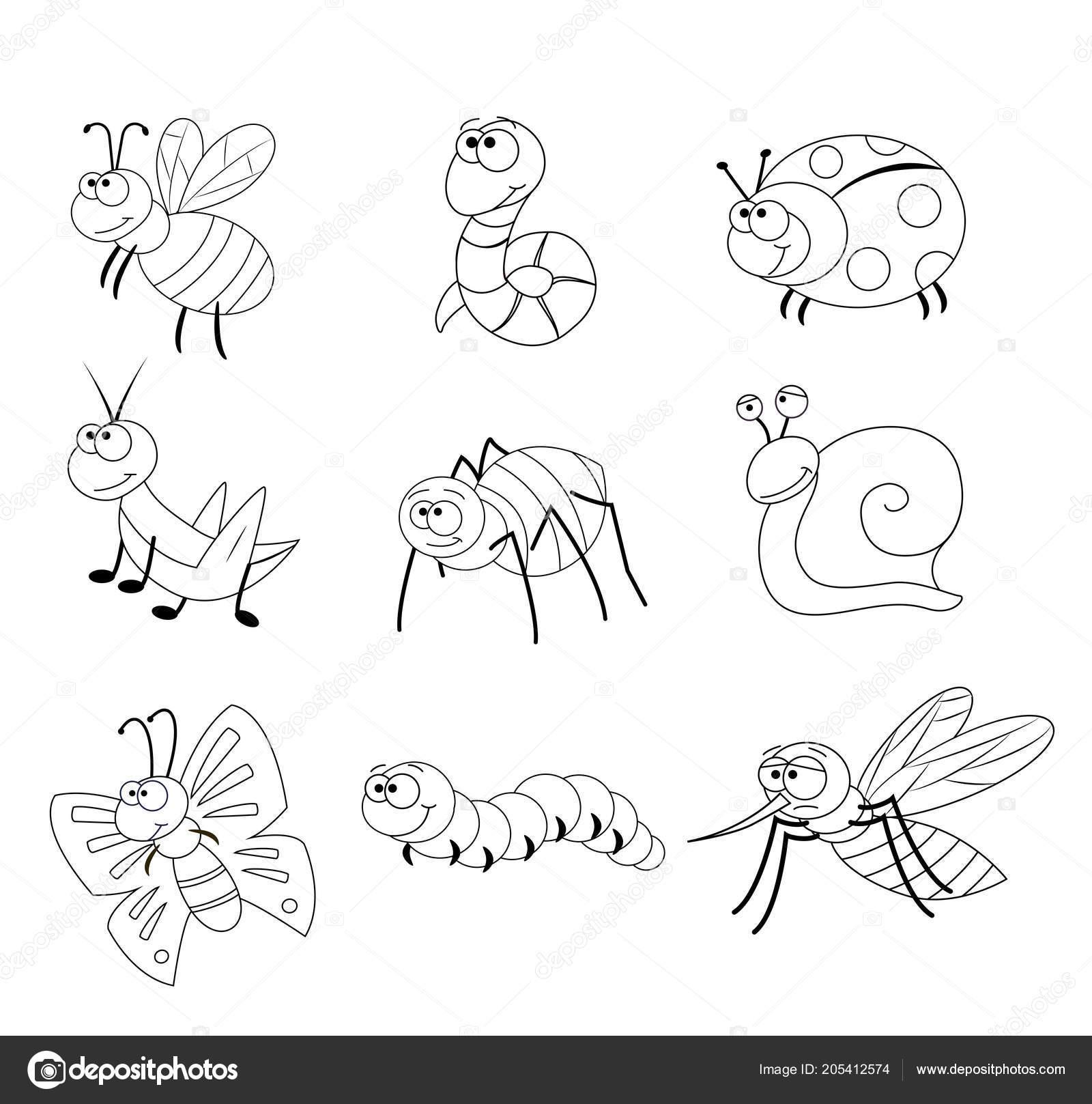 Kleurplaten Van Insecten.Kleurplaat Voor Kleuters Stockvector C Budolga 205412574