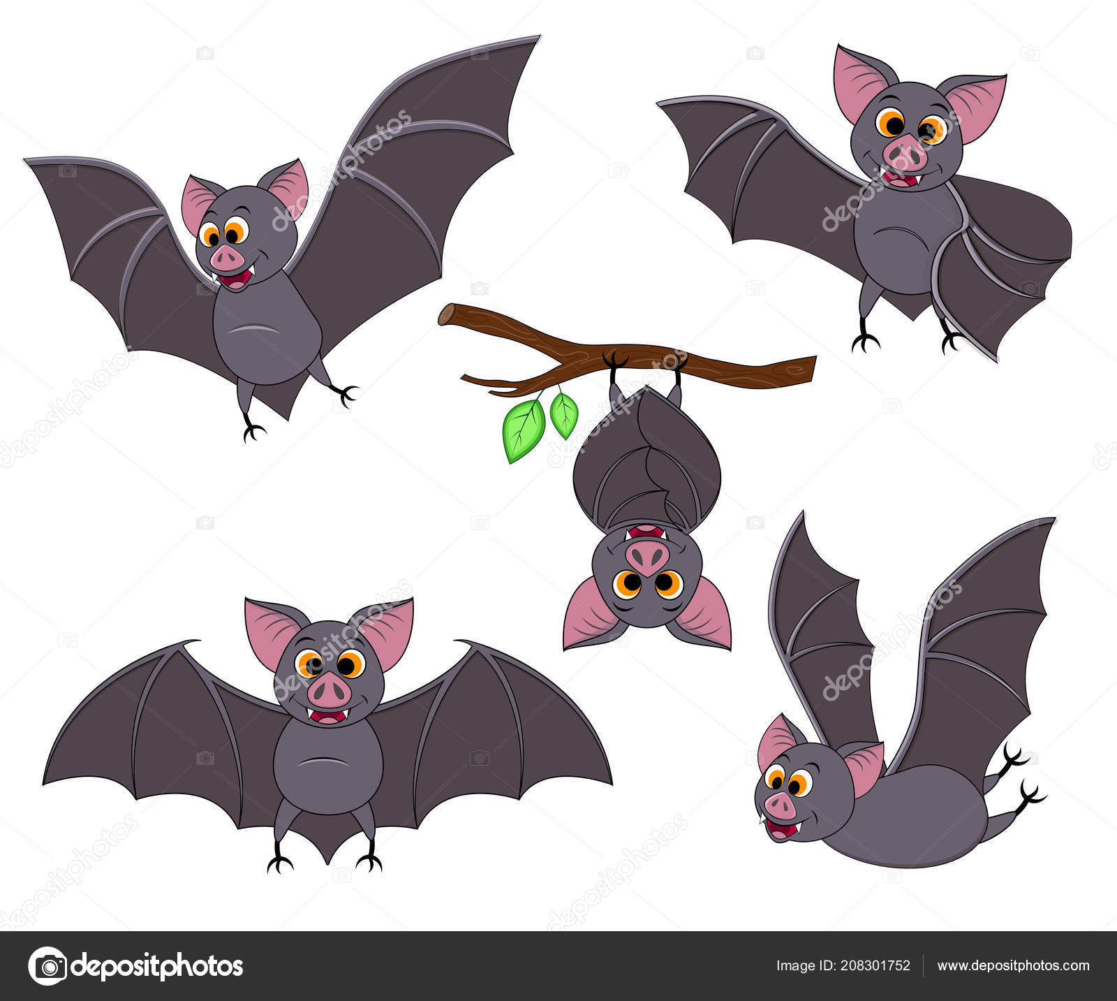 A Picture Of A Cartoon Bat cartoon bat in different poses. halloween elements set