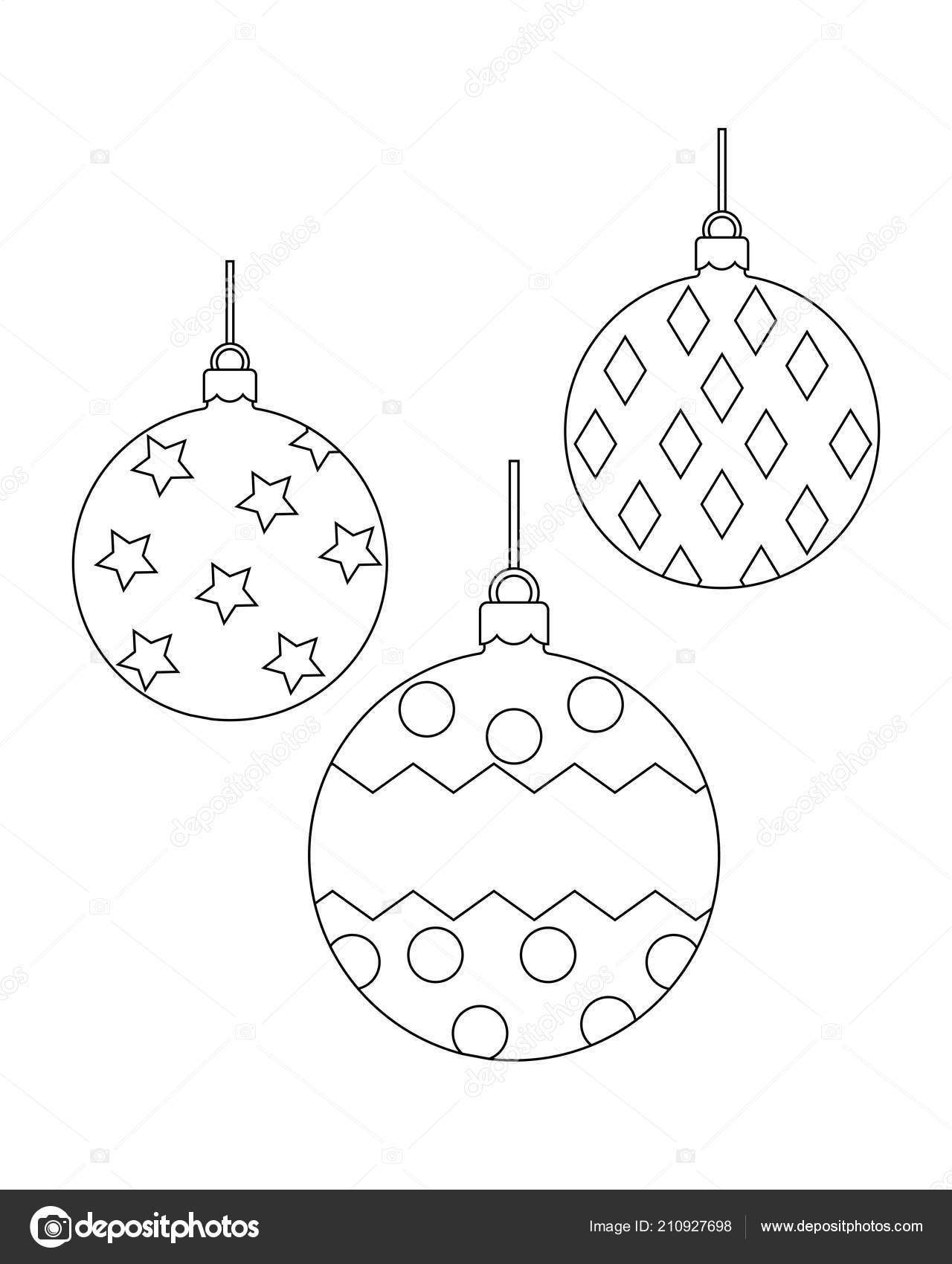 Imagenes Bolas De Navidad Para Colorear.Bolas De Navidad Para Colorear Ilustracion De Vector De