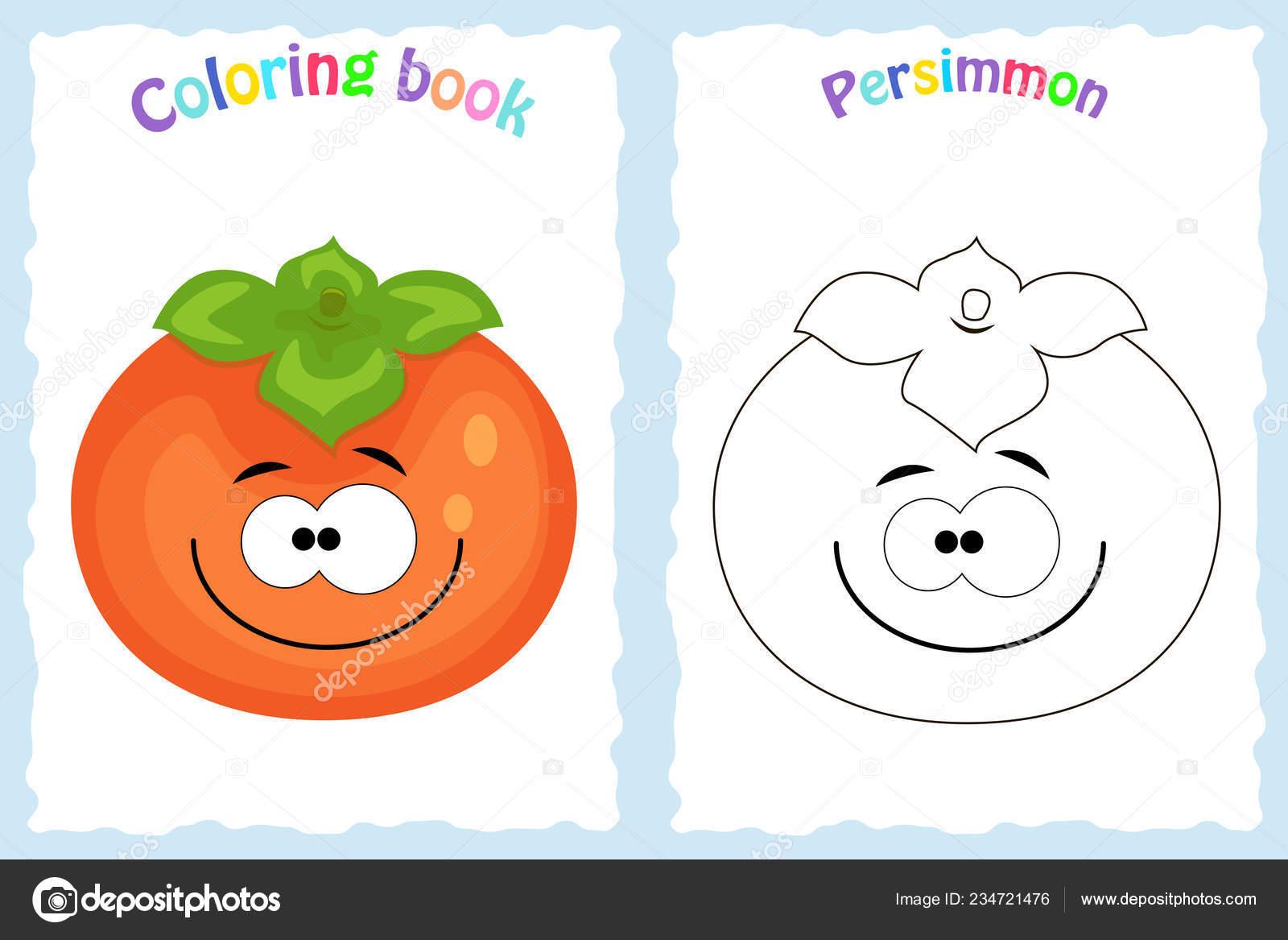Coloriage Fruit Kaki.Page De Livre A Colorier Pour Les Enfants Avec Kaki Colore Et Sk