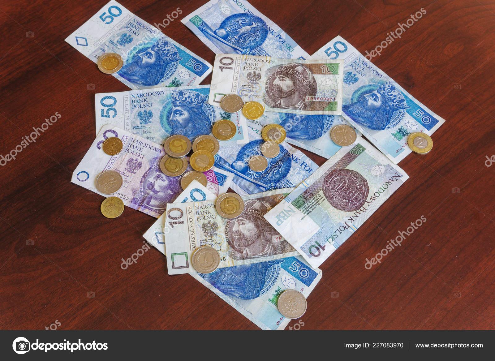 Polnischer Zloty Geld Banknoten Und Münzen Offizielle Währung Polen