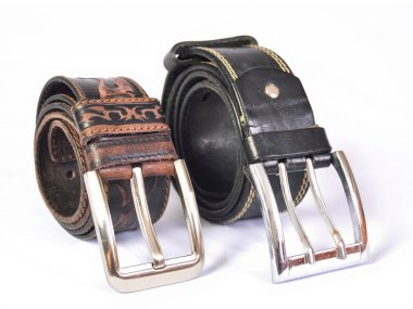 Two leather straps on white background