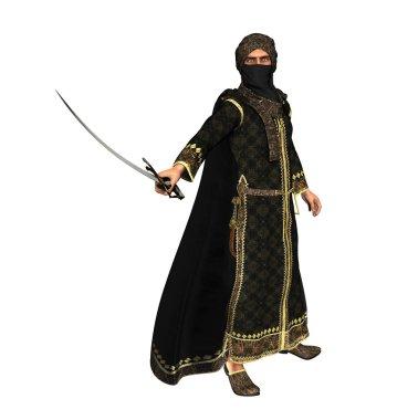 Muslim Warrior Prince with Scimitar Sword