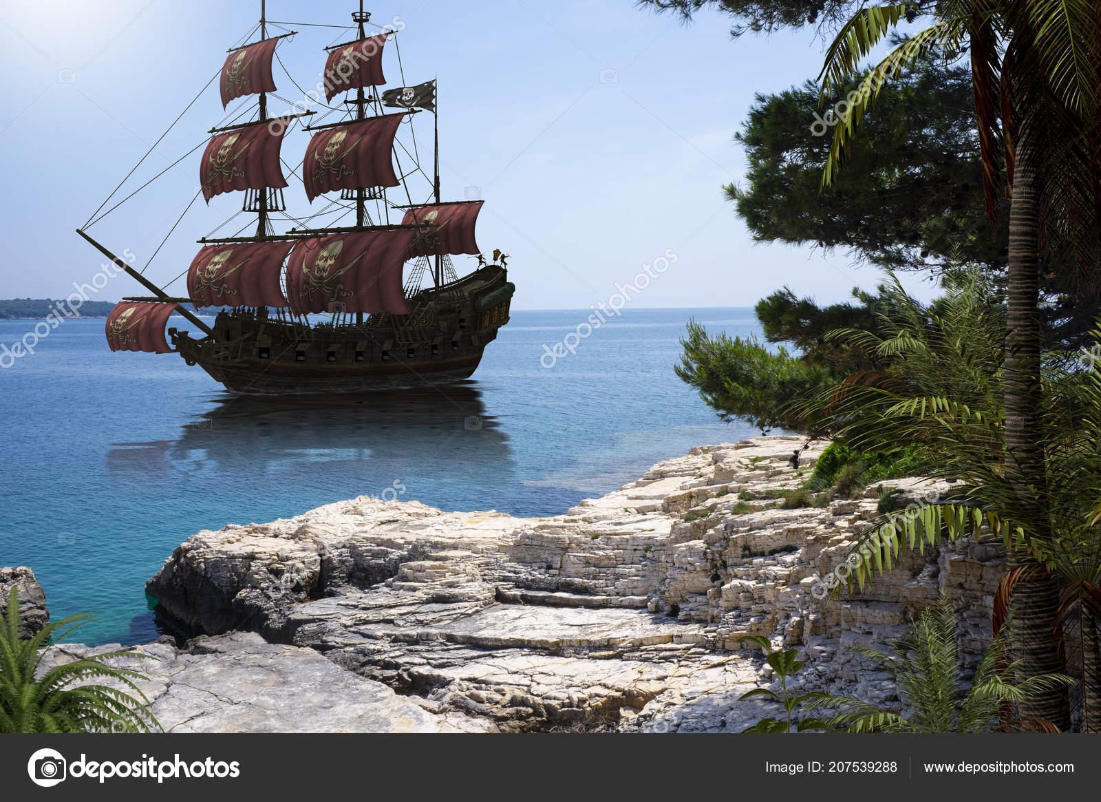 Vintage Piratenschip Te Gaan Anker Stockfoto Ratpack2