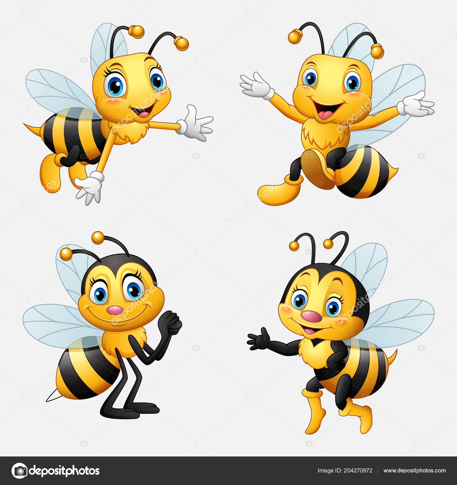 Funny Cartoon Bee Collection Stock Vector C Dreamcreation01