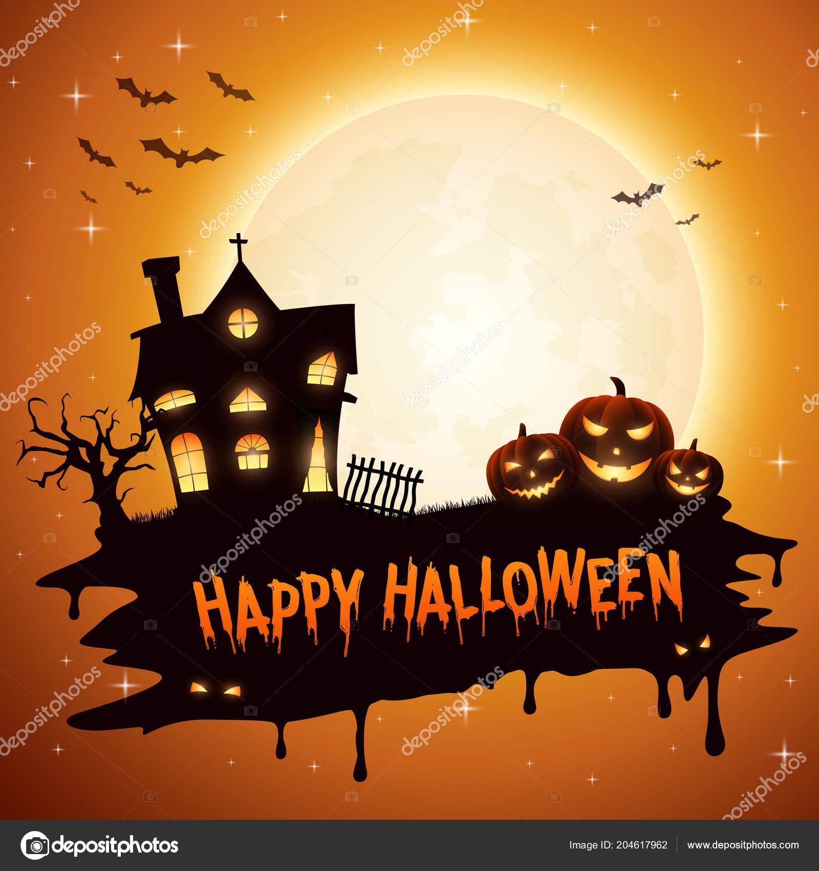 Halloween Chiesa.Priorita Bassa Halloween Con Zucche Chiesa Vettoriali Stock