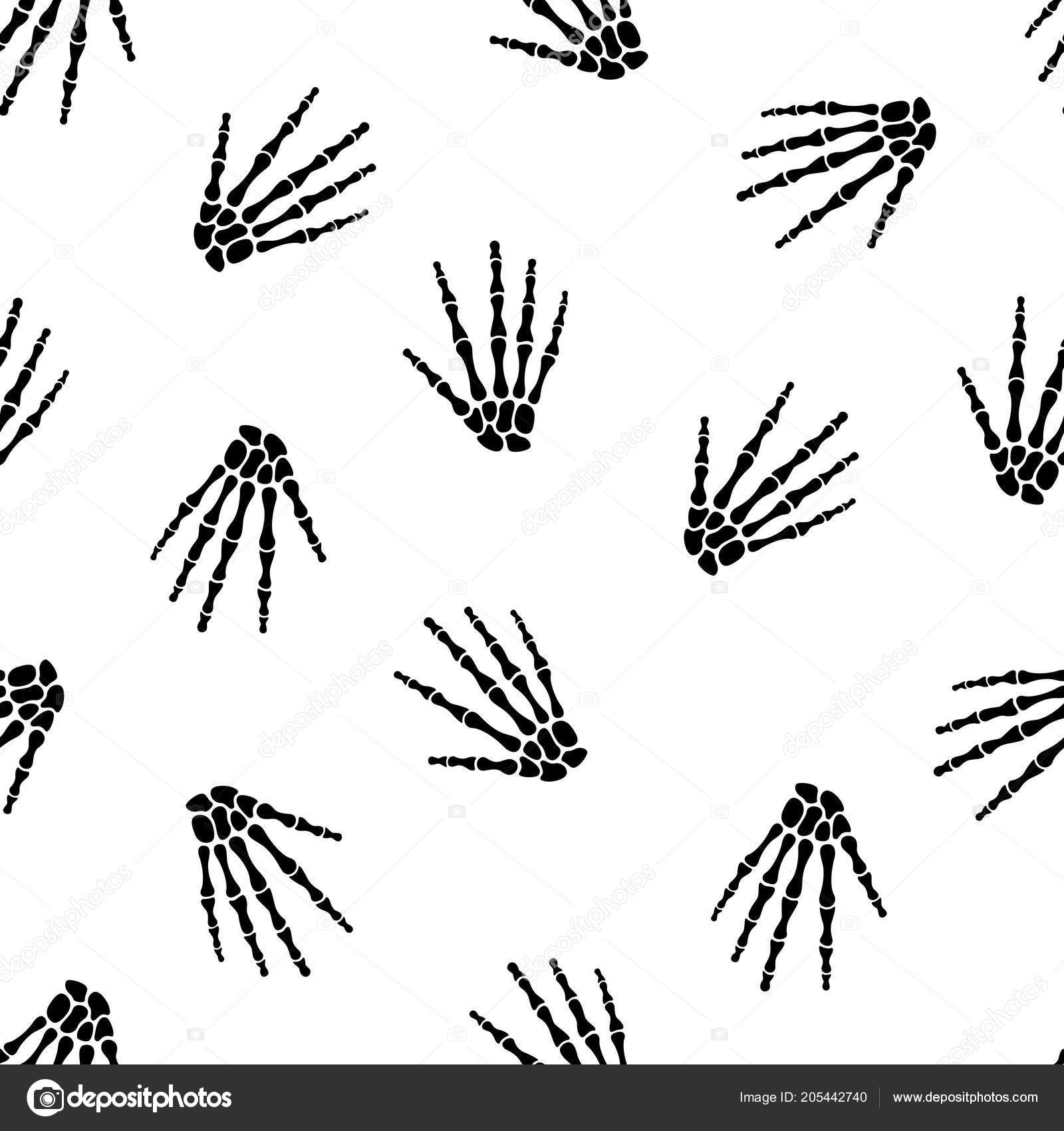 Vector Illustration Seamless Pattern Human Skeleton Hand Stock