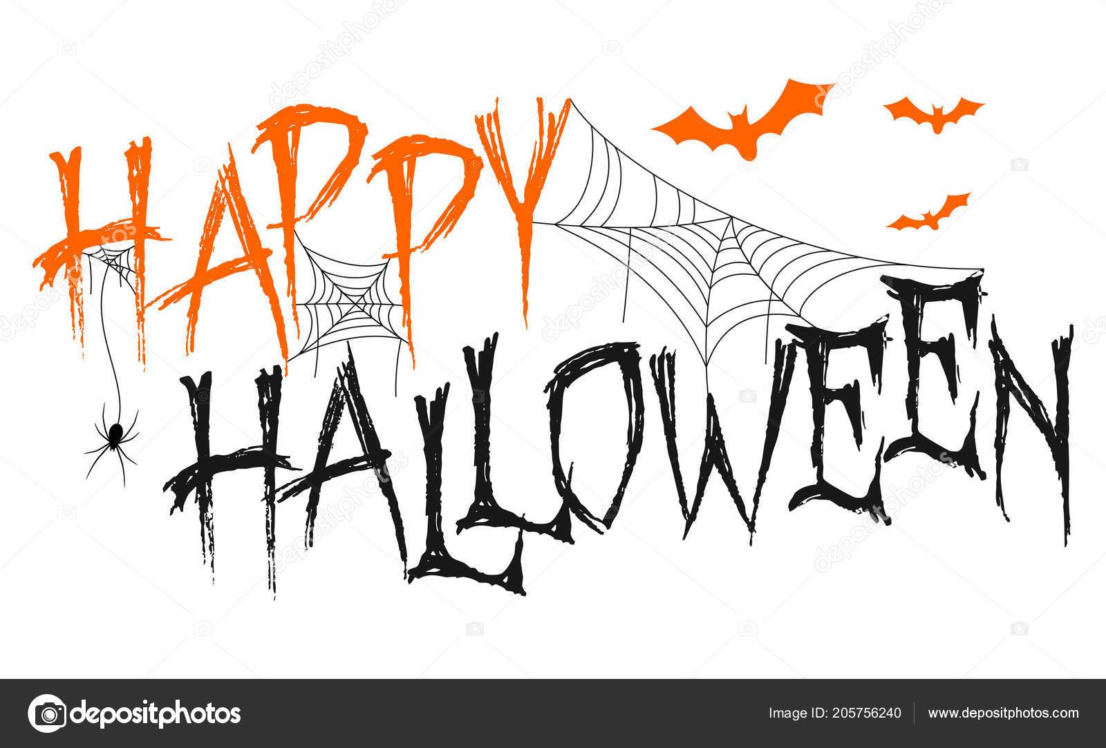 Happy Halloween Lettering Spider Web Bats Stock Vector C Dreamcreation01 205756240