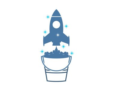 Cleaning service and rocket launched on top icon