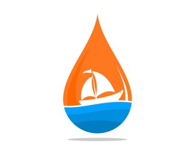 Sailing boat with sunset scene in the water drop icon
