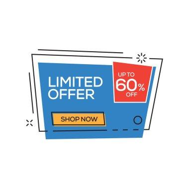 Limited Offer 60% Banner, vector illustration