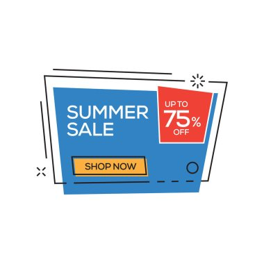 Summer Sale 75% Banner, vector illustration