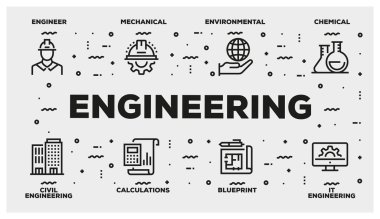 ENGINEERING LINE ICON SET stock vector
