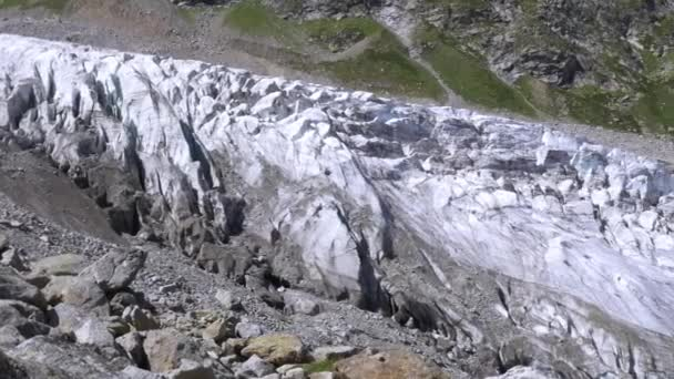 A large glacier in the mountains of the Caucasus. Beautiful panoramic view.