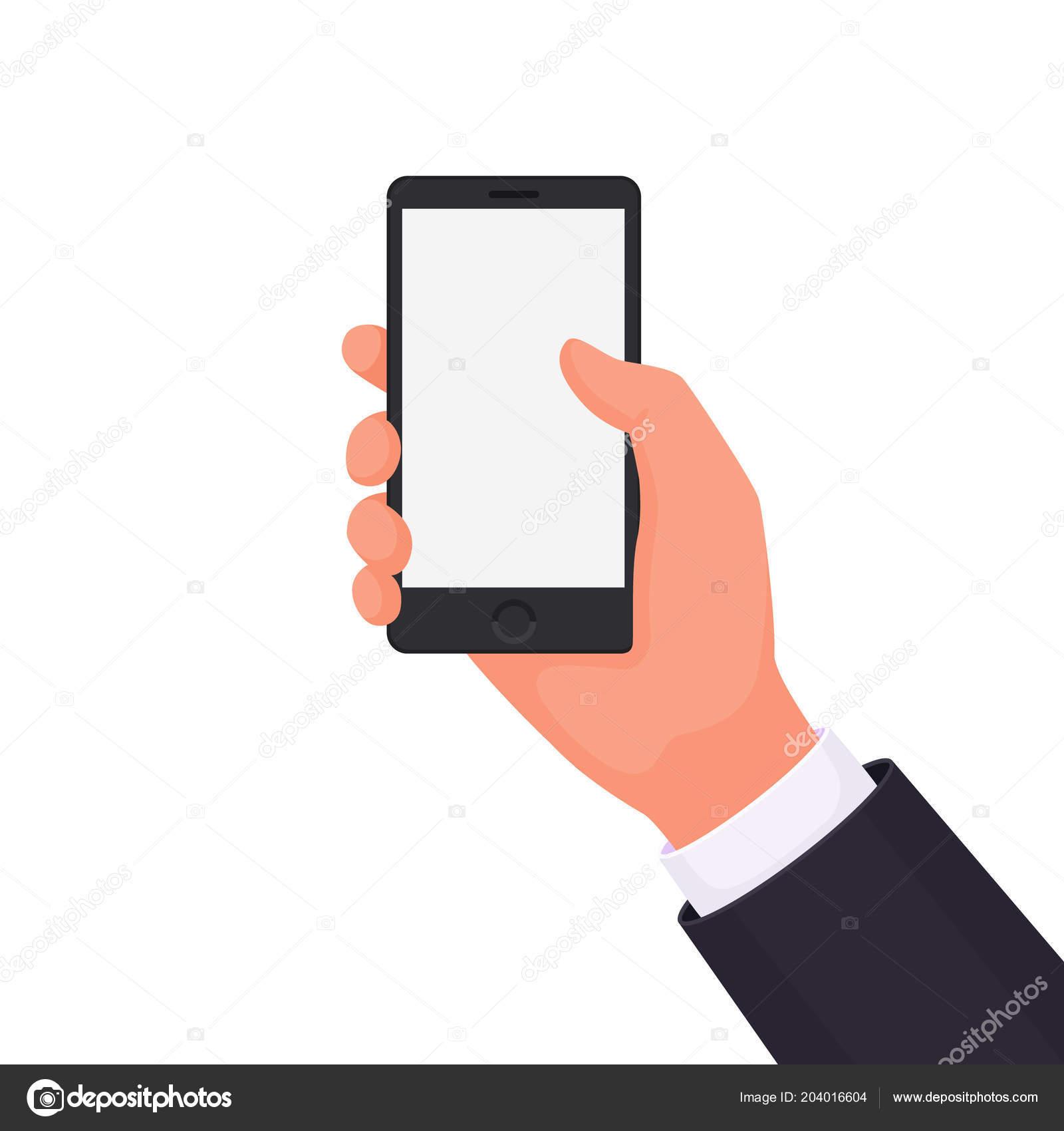 Mano Che Tiene Telefono Sfondo Bianco Inserire Tuo Prodotto Servizio