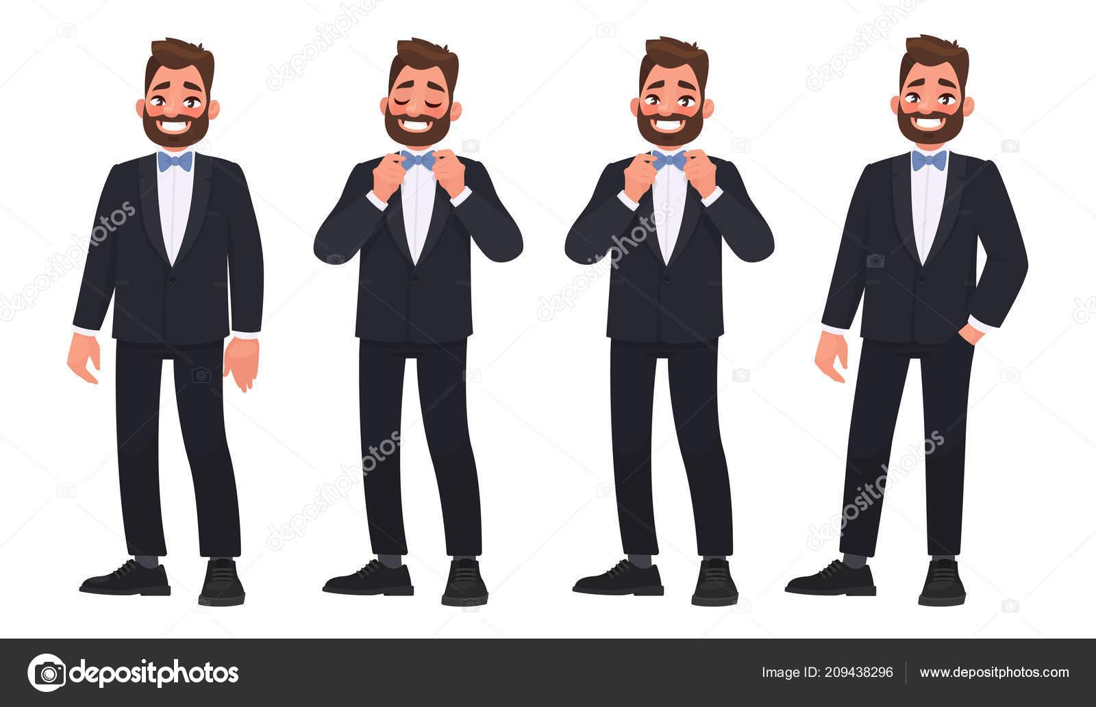 Conjunto Caracteres Hombre Barbudo Traje Con Pajarita