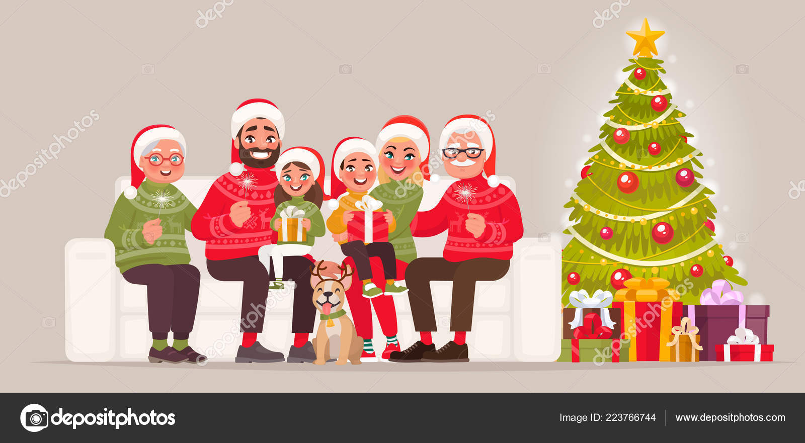 Regali Di Natale Per Mamma E Papa.Buon Natale Felice Anno Nuovo Grande Famiglia Che Siede Sul