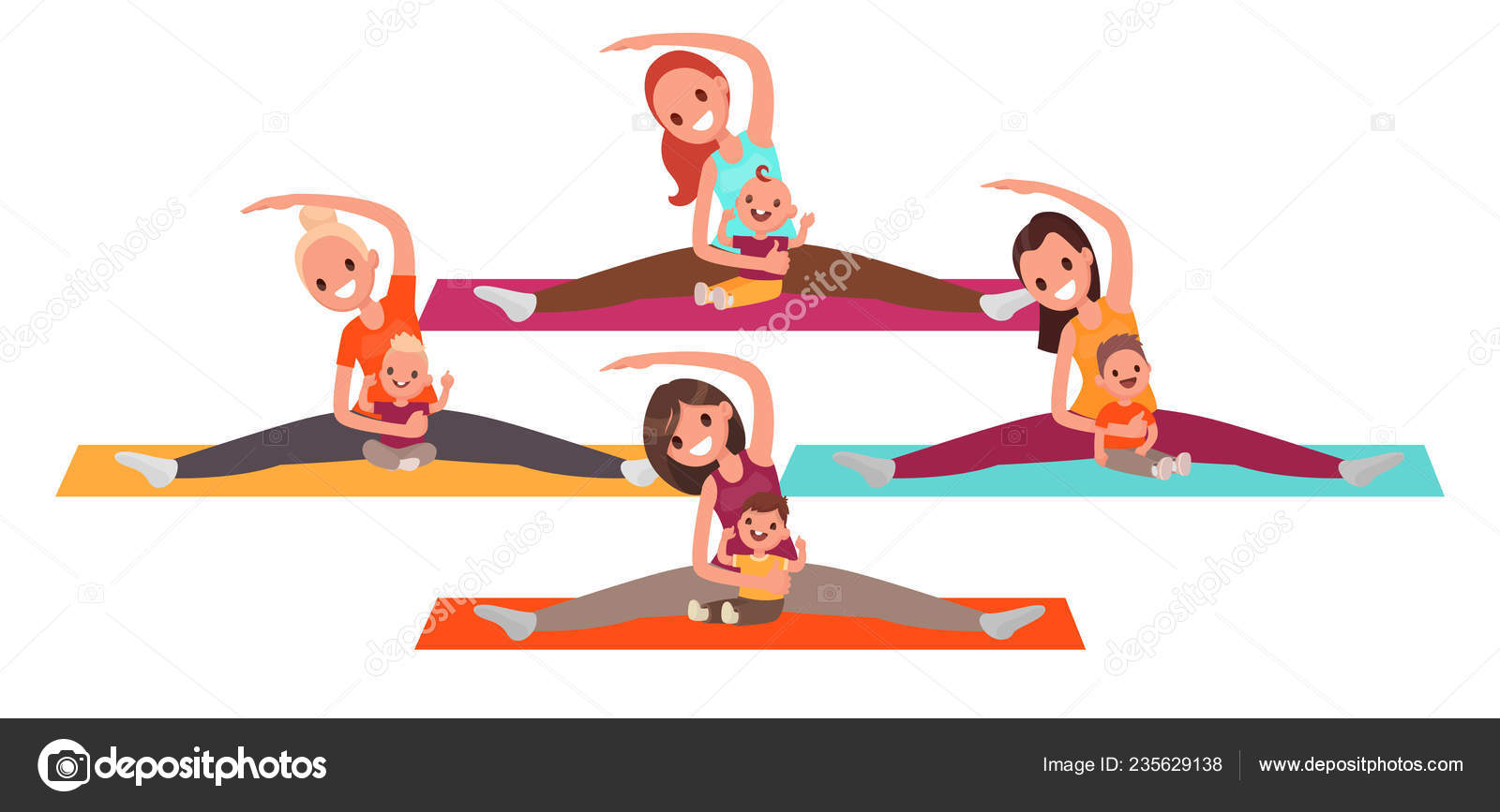 Group Young Mothers Doing Yoga Kids Women Fitness Children