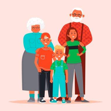 Happy grandparents and grandchildren. Grandmother and grandfathe