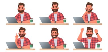 Stages of doing work on a laptop. A bearded man works at a compu