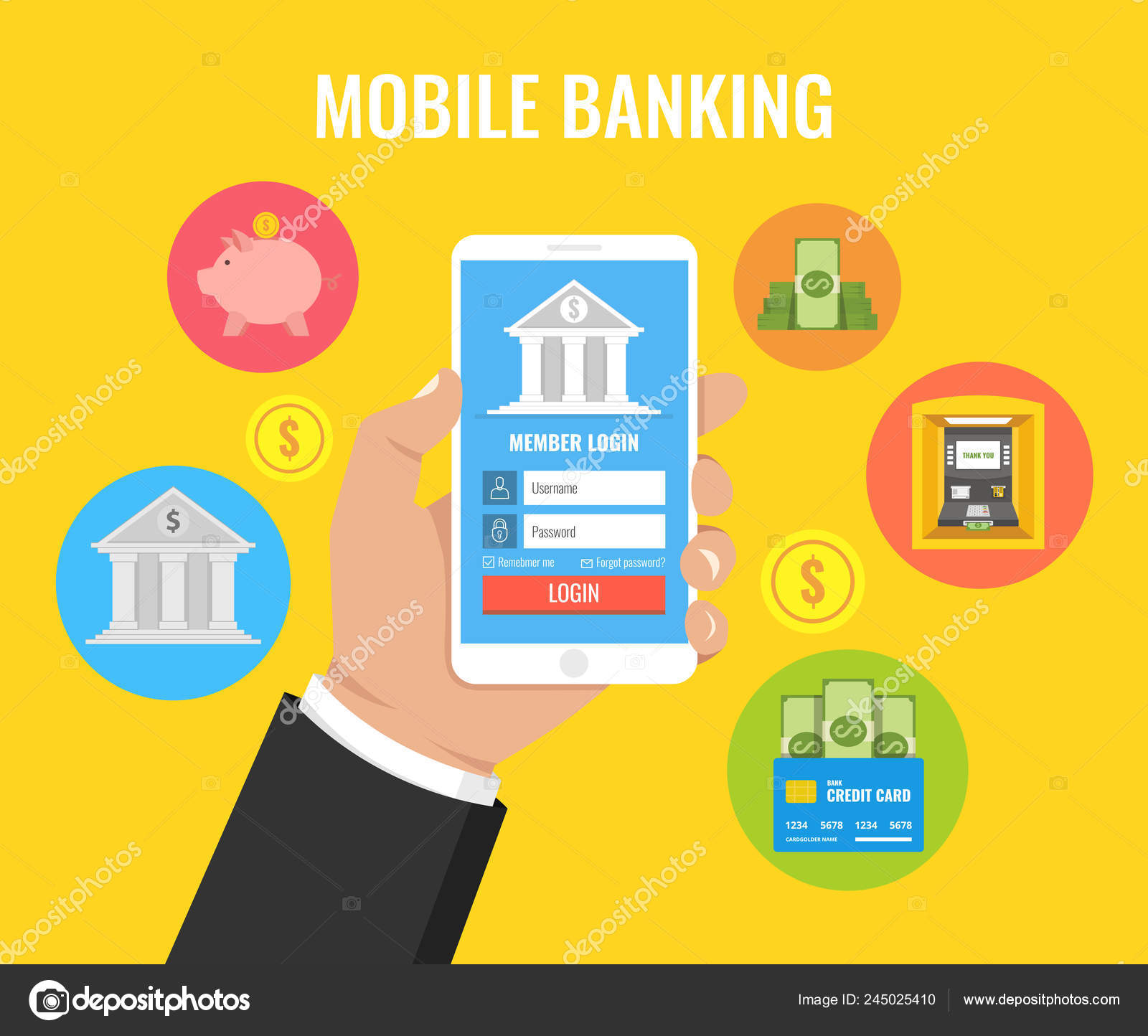 Mobile Banking Concept Man Holding Smartphone Payment App