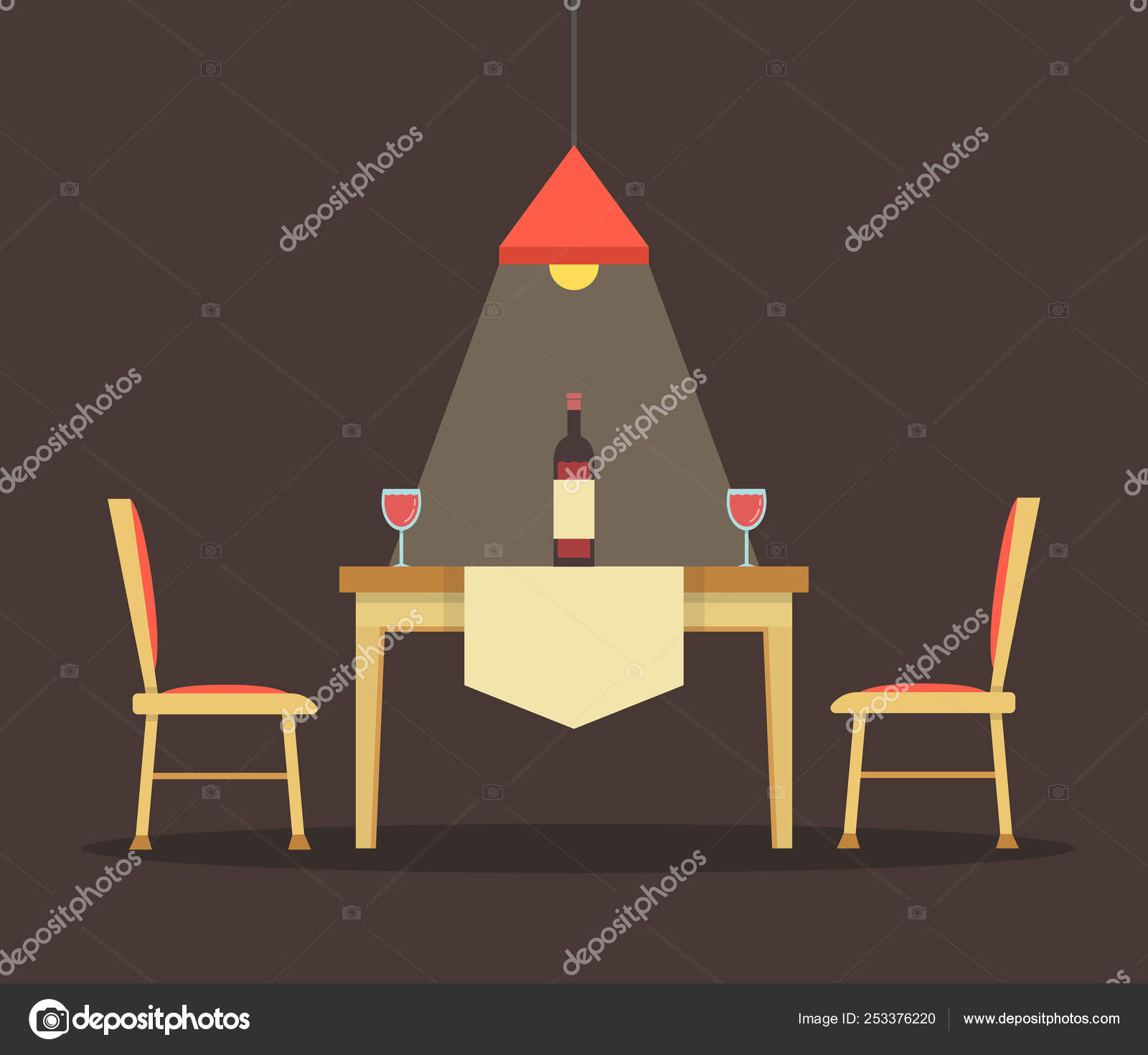 Vector illustration of dinning table with wine bottle
