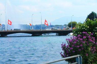 View of the bridge on Lake Geneva. Switzerland