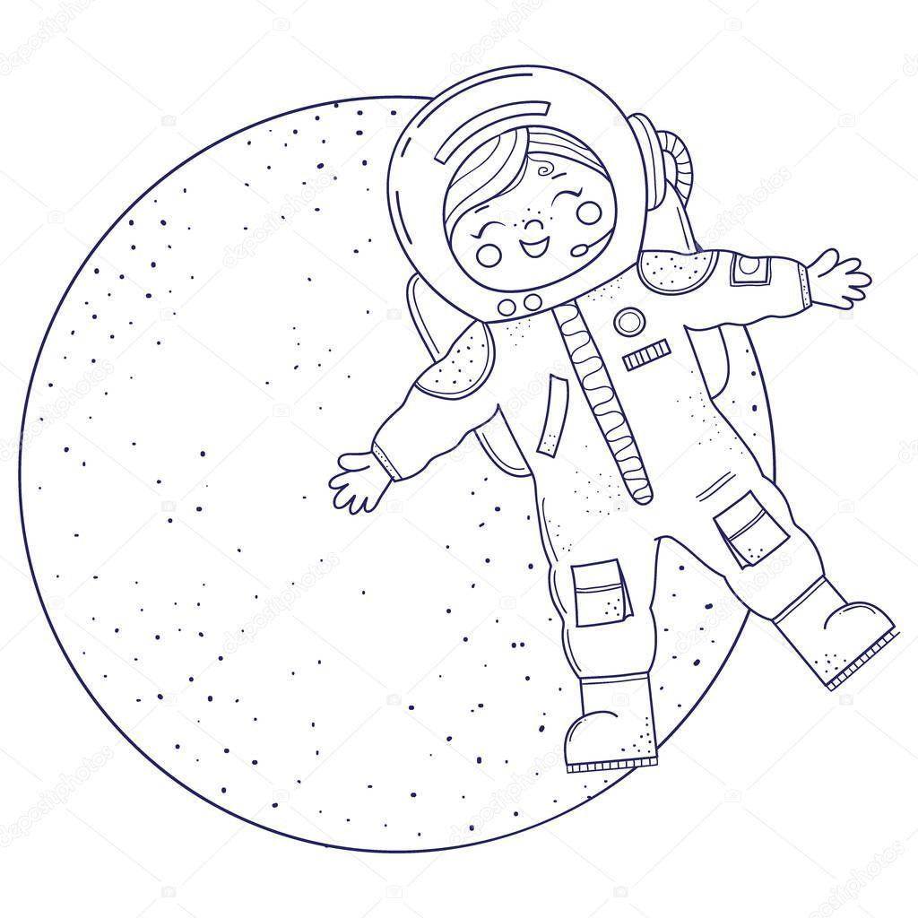 Sevimli Kız Boyama Kitabı Için Kız Astronot Kostüm Uçar Stok