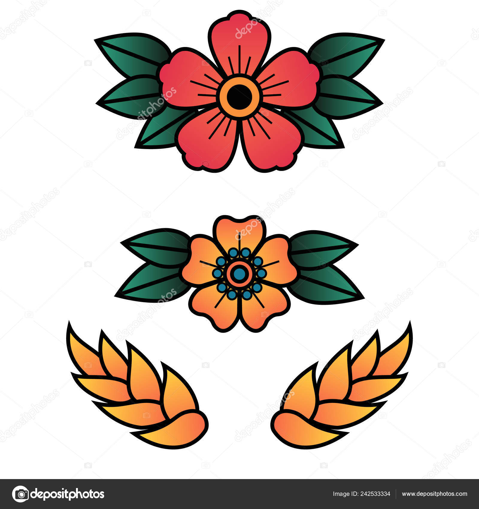 Oldschool Traditional Tattoo Vector Flowers with 5 Petals — Stock Vector