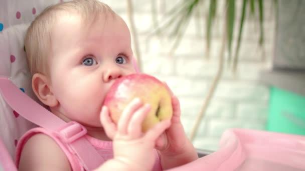 Rozkošné dítě jí jablka. Zdravá výživa pro děti. Roztomilé dítě kousající jablko