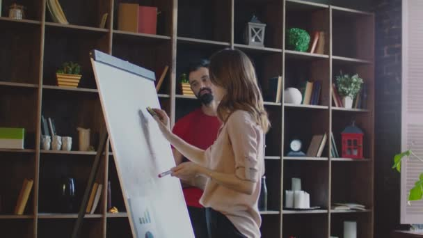 Business woman cleaning whiteboard and drawing new diagram on flipchart